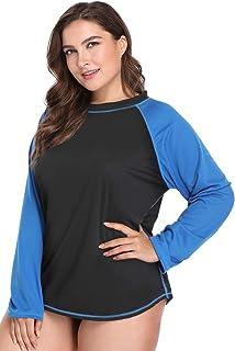 ATTRACO Women's Plus Size Long Sleeve Rashguard Top Loose Swim Shirt UPF 50+