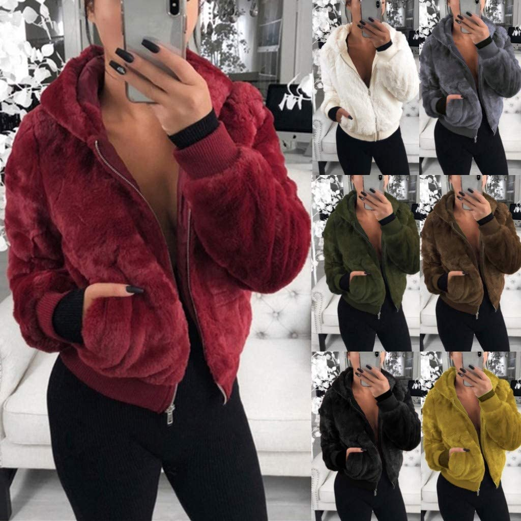 TUDUZ Kapuzenjacke Damen Faux Pelz Mantel Lose Langarm Outwear Tasche Reißverschluss Winterjacke Kurz Armeegrün