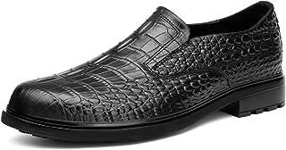 L-YIN Slip-Ons pour Hommes Ronde Crocodile en Cuir Embossagé Couleur Solide Caoutchouc Semelle Faible Bloc Talon Black (Co...