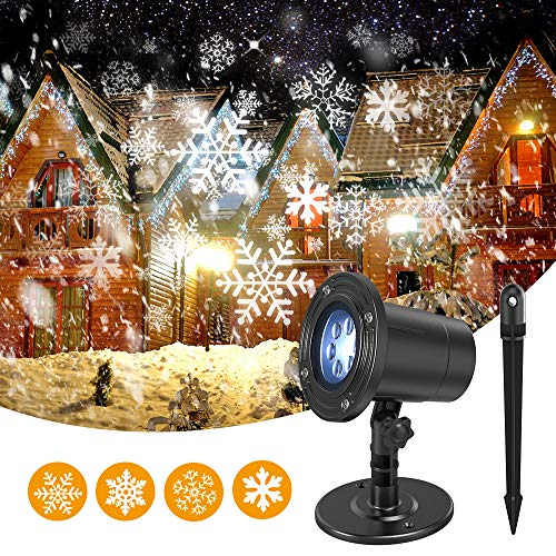 Snowflake Christmas Lights Projector for Festive Holiday Décor, Waterproof, Realistic Snowflake Pattern, Plug-In, Wide Illumination Area, outdoor/indoor