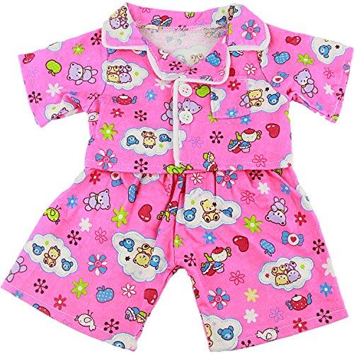 niedlicher rosa Pyjama, Kleid Teddybär Outfit Kleidung, für Teddybären von 25 cm von Kopf bis Fuß,
