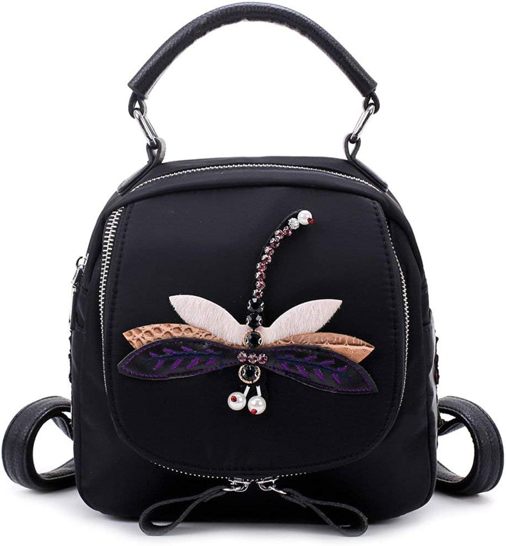 Crystallly Rücksack Teenager Erwachsene Stylisch Backpack Casual Vintage Daypacks Damen Mini Einfacher Stil Rucksack Blaumen Vogel Libelle Stickerei Nylon Rucksack