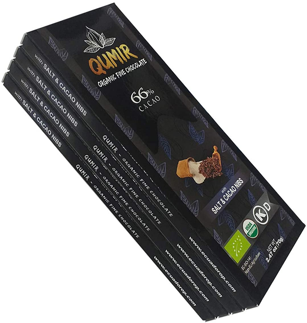 Qumir Organic Dark Chocolate | 4 Pack, Salt and Nibs | made with amazon arriba cacao beans | Pack of 4 Bars, 2.47oz each.