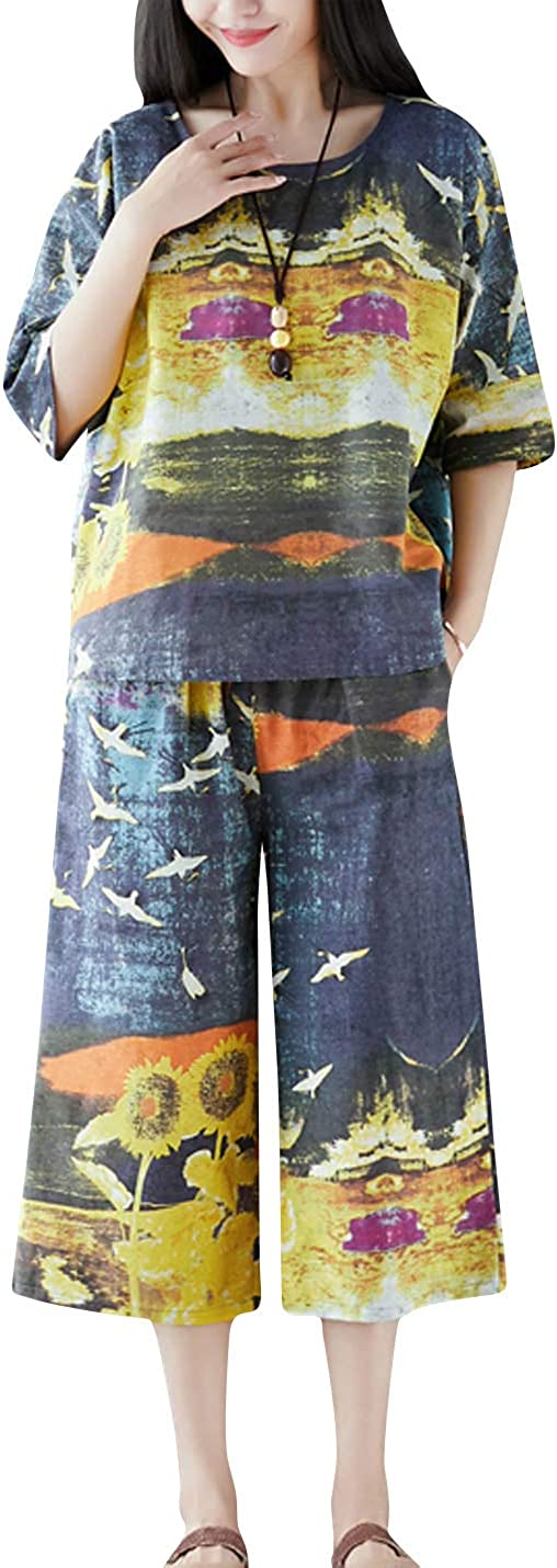 ZGZZ7 Womens Casual Linen Cropped Pants Two Piece O Neck T-Shirts Floral Printed Painting Capris Trousers