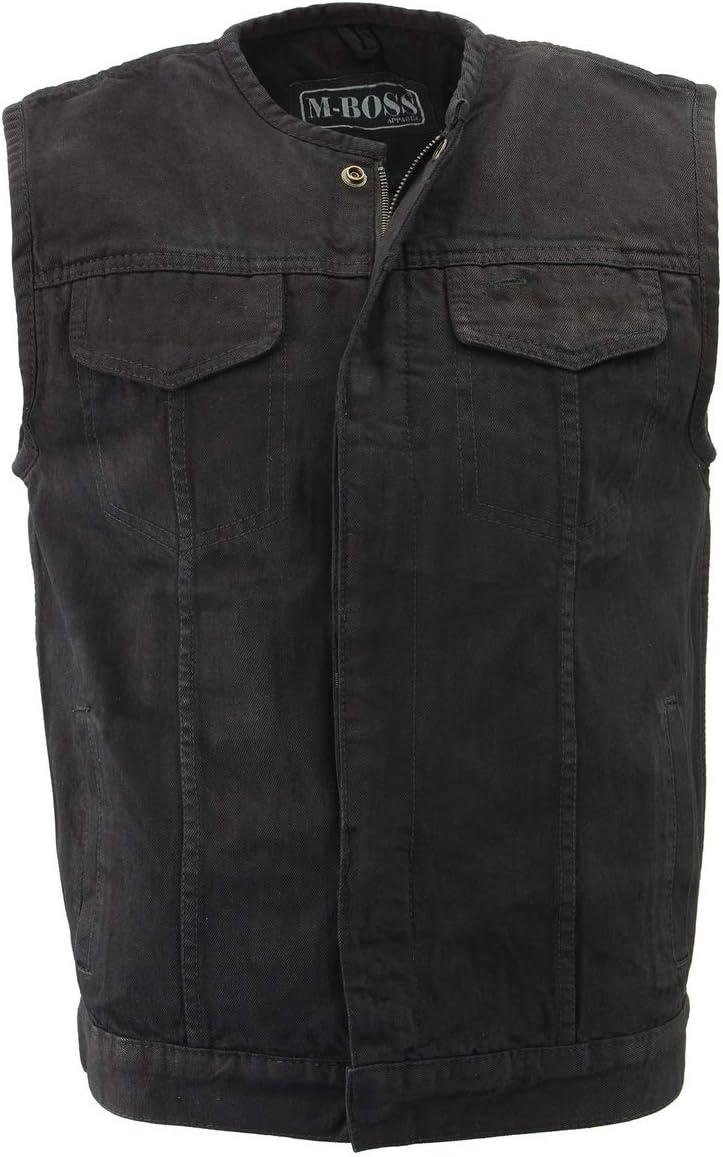 M Boss Motorcycle Apparel BOS13001 Men's Black Collarless Denim Club Style Vest with Hidden Zipper - 3X-Large