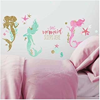 RoomMates Mermaid Peel And Stick Wall Decals With Glitter - RMK3562SCS, Multicolor