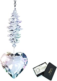 Shario 45mm Clear Glass Heart Crystal Ball Prism Pendant, Suncatcher for Windows, Indoor Outdoor Garden Hanging Décor, Gif...