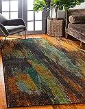 Unique Loom 3131573 Vibrant Abstract Area Rug, 6 x 9 Feet, Multi/Orange