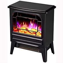 XHHWZB Calentador Chimenea Estufa eléctrica portátil con termostato for Office y Home 3D Flame & QuietFan Negro