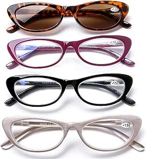 4 Pack Women Vintage Cat Eye Blue Light Filter Computer Reading Glasses Spring Hinge with Leopard Print Sun Readers UV400 Protection +1.5