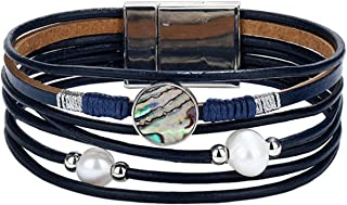 Green Stone Leather Bracelet for Men Women Vintage Multiple Layers Simulated Pearl Acrylic Cuff Bracelets Feminino Jewelry