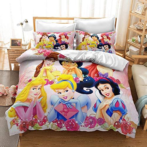 Enhome Duvet Cover Bedding Set for Single Double King Size Bed, 3D princess Print Microfiber Duvet Set Quilt Case with Pillowcases (Disney Princess,200x200cm)