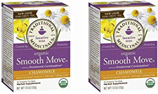 Traditional Medicinals Smooth Move Senna Herbal Stimulant Laxative Tea, Chamomile, Net WT 1.13oz (Pack - 2)