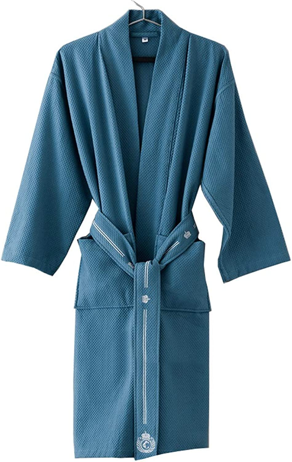 Long Bathrobe Shawl Thick Cotton Kimono Collar Robes Full Bath Towel Strong Water Absorption   Couple Models  bluee (Size   L)