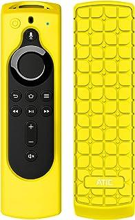 リモコンカバー ATiC 5.6インチ 新登場 Fire TV Stick 4K, Fire TV Cube, Fire TV 第三世代専用リモコンカバー シリコン製 耐衝撃 防水防塵 第2世代Alexa対応音声認識リモコン用保護カバー Yellow