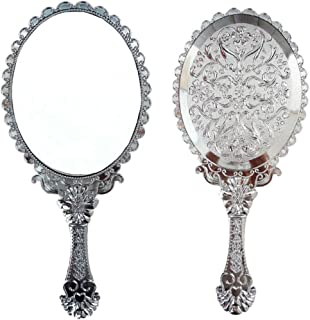 Ohraina Decorative Vintage Style Rose Embossed Oval Silver Tarnish Free Hand Held Vanity Mirror (Silver)