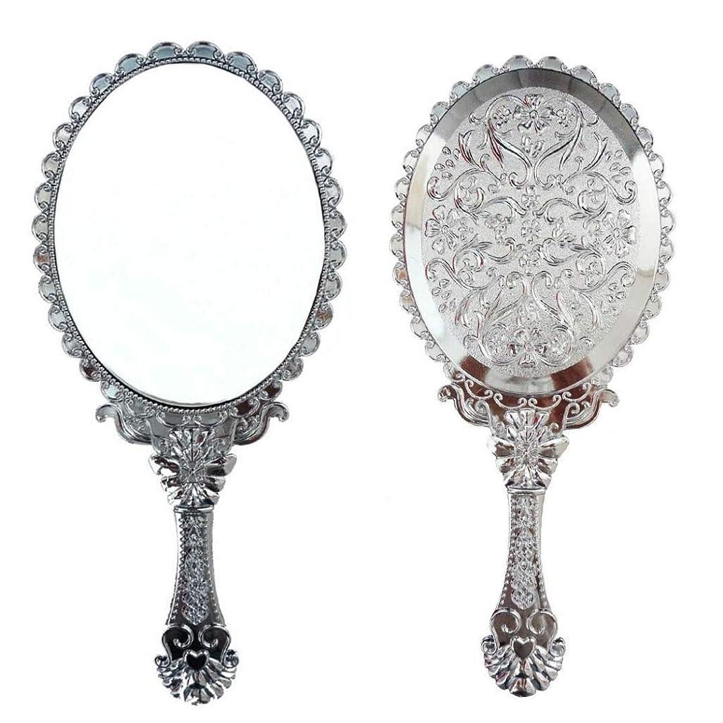妨げるキルス衝突する送料無料 トゥインクル 楕円の鏡 メイク ポーチ 化粧 ミラー 手鏡 姫系ハンドミラー シルバー