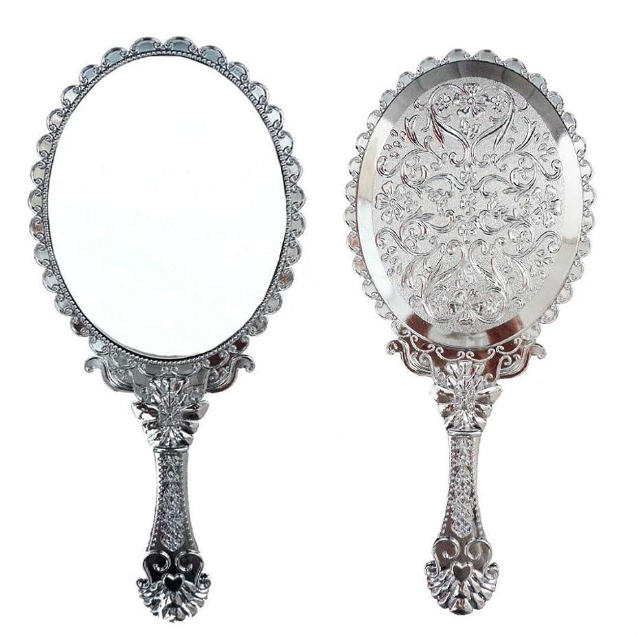 知るネクタイ所有権送料無料 トゥインクル 楕円の鏡 メイク ポーチ 化粧 ミラー 手鏡 姫系ハンドミラー シルバー
