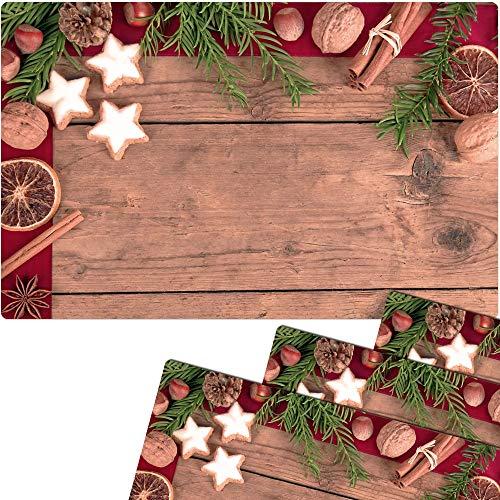 matches21 Tischsets Weihnachten Platzsets MOTIV Weihnachtliche Gewürze 4 Stk. Kunststoff abwaschbar je 43,5x28,5 cm