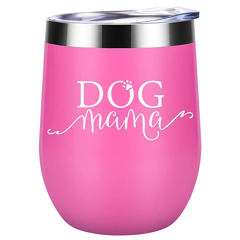 Dog Mama | Dog Lover Gifts for Women | Funny Dog Themed Birthday Gifts for Dog Mom, Fur Mom, Fur?Grandma, Dog Owner, Veterinarian, Mother, Daughter, Wife, Friends, Girls, her | Coolife Wine Tumbler