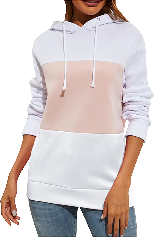 INESVER Womens Color Block Long Sleeve Hoodies Casual Stripe Sweatshirt Fashion Drawstring Sweatshirt Hoodie Pullovers