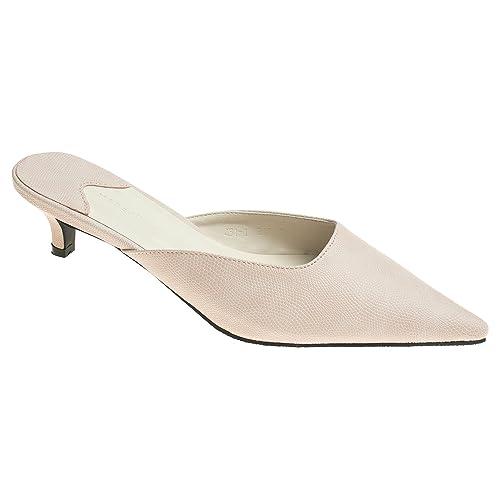 eaa7c2e9216b5 AnnaKastle Womens Pointy Toe Low Kitten Heel Mule Slide Chic Dress Sandal  Shoes