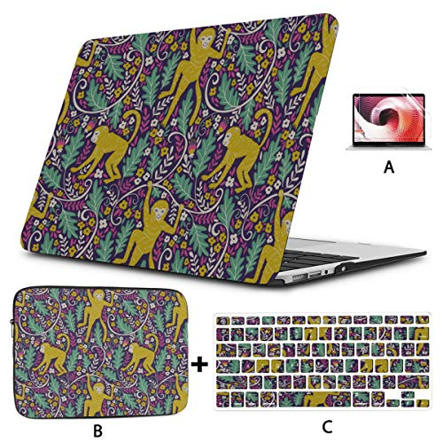 Macbook Pro A1989 Case Clever Monkey Cartoon Mac Book Cases Hard Shell Mac Air 11'/13' Pro 13'/15'/16' With Notebook Sleeve Bag For Macbook 2008-2020 Version
