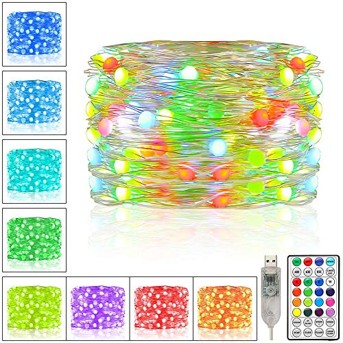 Ollny Led Fairy Lights, 10M 100 LED 16 Colour Changing String Lights USB Powered Waterproof Silver Wire with Remote Control for Outdoor Indoor Bedroom Party Wedding Tree Patio Yard Garden Decorations