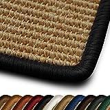casa pura Tapis de Salon Salvador | tissé en Fibres Naturelles 100% sisal | 11 Couleurs, 7 Tailles | antidérapant| Bordure Coton Noir 66x130cm