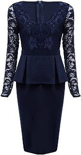 Sexy V Neck Long Sleeve See-Through Lace Spliced Bodycon Women Dress