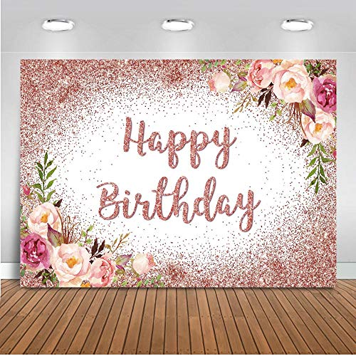 Mocsicka Rose Gold Happy Birthday Backdrop Women Sweet Girl's Birthday Party Decorations for Photography Rose Gold Dot Pink Floral Birthday Photography Background (7'x5')