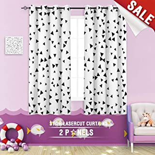 Big datastore home Black Out Window Curtain, Triangle Pattern Geometric Pattern Triangle Abstract Art Backdrop Background Bang Banner 55 x 40 inch Grommet Design Children's Room Curtains