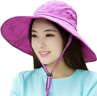 C.C-US Women Summer Rain Hat UV UPF 50 Sun Protection Wide Brim Hat Sun Hat Foldable Bucket Hat