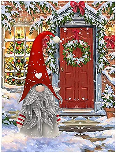 Christmas Diamond Painting Kits for Adults - 5D Diamond Art Christmas Gnome - DIY Full Drill Round Rhinestone Arts and Crafts - Gem Art Paint with Diamonds Home Wall Decor(11.8 X 15.7inch)