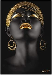 Wall Art African American Art Wall Decor Canvas Wall Art Original Designed Pop Gold Earrings Necklace Black Pretty Girl Style Painting on Canvas Poster Print Without Frame (28x40 inch affiche)