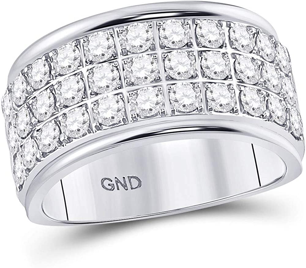 10kt White Gold Womens Round Diamond Row Band Over item handling Ring 2 1-1 Same day shipping Triple