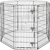 Amazonベーシック ペット 犬用 エクササイズフェンス プレイサークル 折りたたみ可能 金属製 ゲート付き 152 x 152 x 122cm