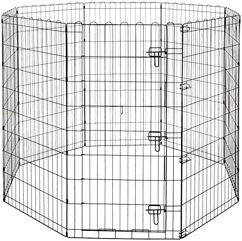 Amazon Basics – Faltbares Metall-Gehege, für Haustier, Hund, Trainingszaun, 152,4 x 152,4 x 121,9 cm