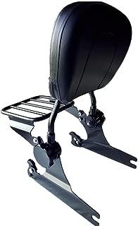 TJMOTO Gloss Black Adjustable Quick Detach Passenger Backrest Sissy Bar Luggage Rack For 2000-2006 Harley Davidson Softail Night Train Fat Boy FLSTF FXSTB FXST