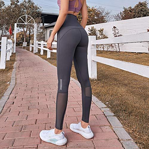 Pantalones de yoga Suave Elastic,Leggings sin costuras de fitness para mujer,pantalones de yoga de cintura alta para gimnasio Sports Wear-T-Grey_M,Pantalones de yoga elásticos rápido y transpirables