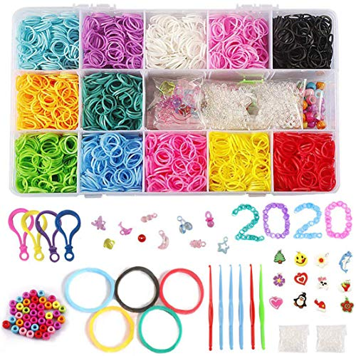 STSTECH DIY Loom Refill Kit for Crafting Gadgets Friendship Bracelet -5500 Rubber Bands Set with 6 Crochet Hooks,100 S-Clips,12 Silicone Charms,45 beads (12 Rainbow Colors)