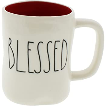 Rae Dunn By Magenta BLESSED Ceramic LL Coffee Tea Mug With Red Interior