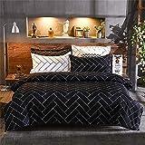 Fansu - Parure de lit 4 pièces élégante comprenant 1 housse de couette, 1 drap plat et 2 taies d'oreiller Cama 90-150x200cm Géométrie noire