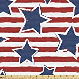 Ambesonne Star Fabric by The Yard, Stars on Stripes USA Americana Theme Independence National Celebration Party Print, Decorative Fabric for Upholstery and Home Accents, Navy Blue Red