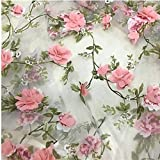 Spitzenstoff Organza 3D rosa Chiffon Rose Blumenstickerei