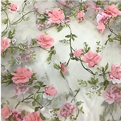 Lace Fabric Organza 3D Pink Chiffon Rose Floral Embroidery 55' Wide by Meter