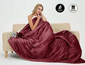 MARQUESS Electric Blanket MicroPlush Sherpa and Reversible Flannel Washable Comfortable with 4 Heat Settings/Safety 10 Hours Auto-Off Controller (62 x 84) (Burgundy)