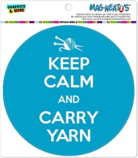 Keep Calm and Carry Yarn Knitting Automotive Car Refrigerator Locker Vinyl Magnet