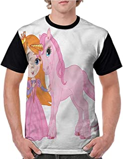Shirt,Princess,Pink Crown Diamond Figures S-XXL Men's Short Sleeve Tops