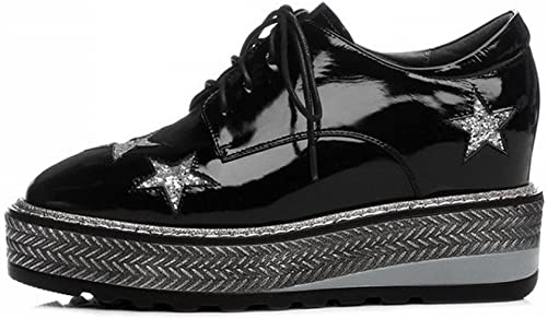 DHG Printemps Chaussures Chaussures à Talons Hauts en Cuir Rond à L'Intérieur Et à L'Extérieur de l'augHommestation de Cinq étoiles éponge de Gateau éponge dans la Femelle,Noir,38